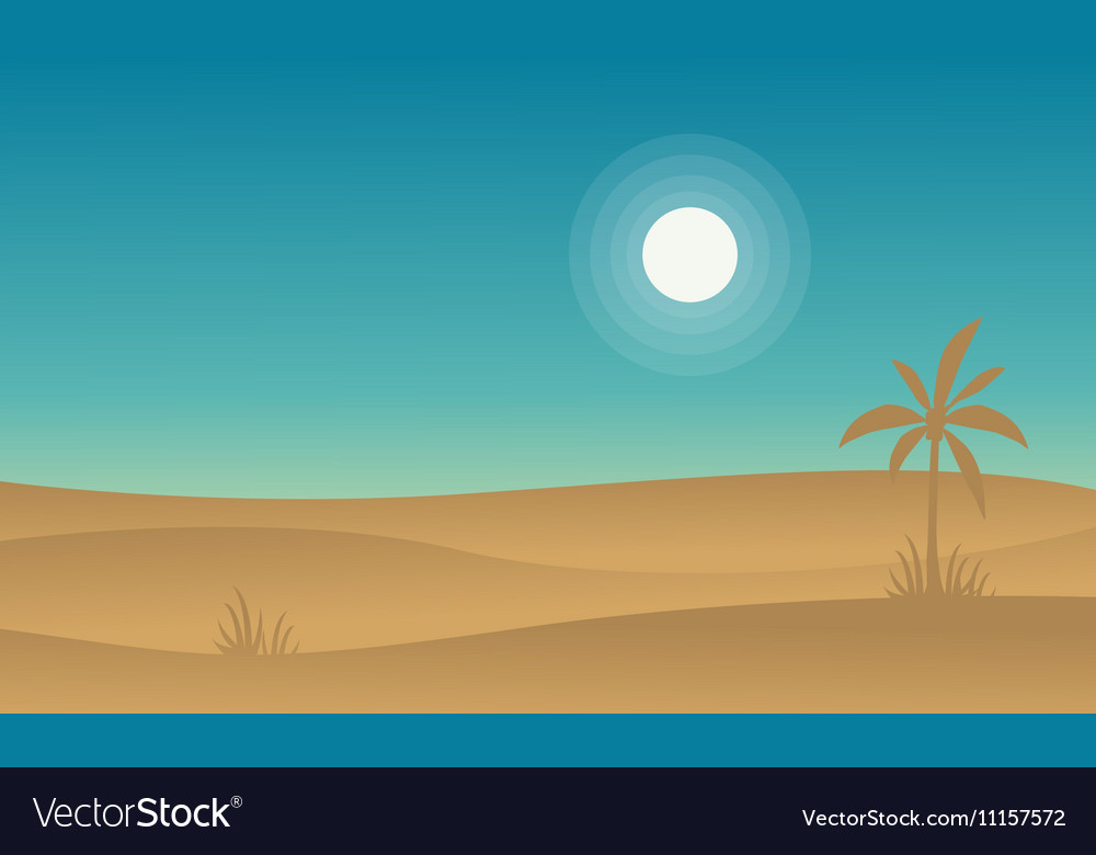 Silhouette of desert and palm landscape