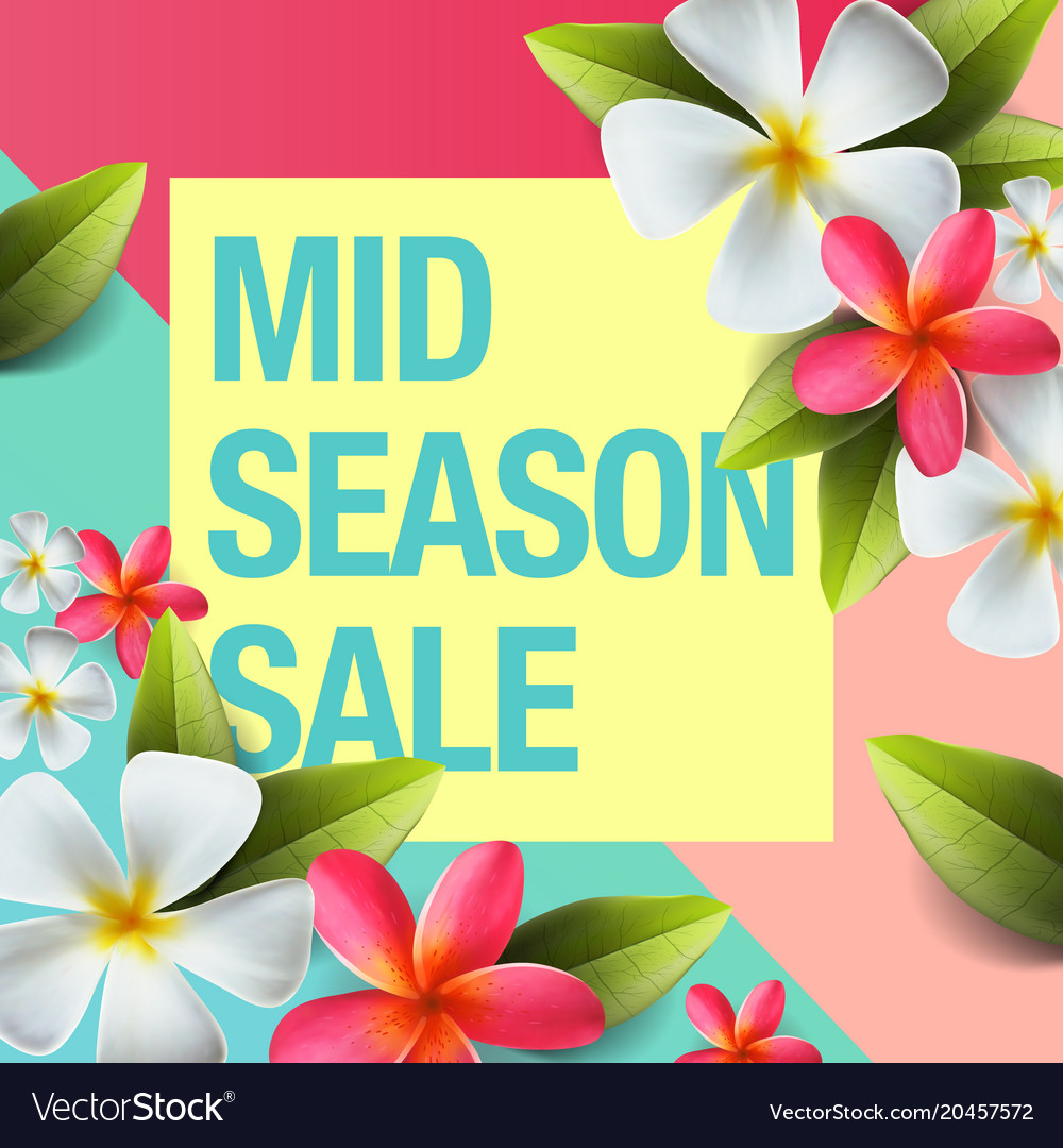 Spring sale background banner with flowers