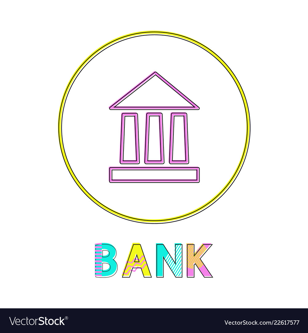 Bank icon with yellow circle frame color poster