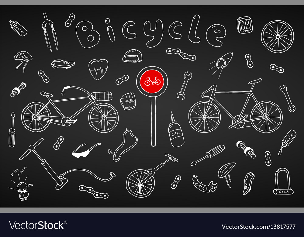 Bicycle collection in doodle stylehand drawn
