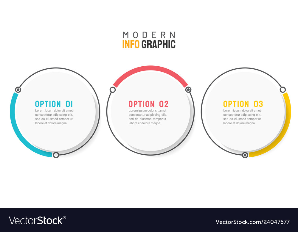 Circle infographic design element with 3 options