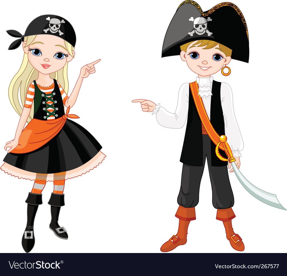 Halloween pirate couple pointing