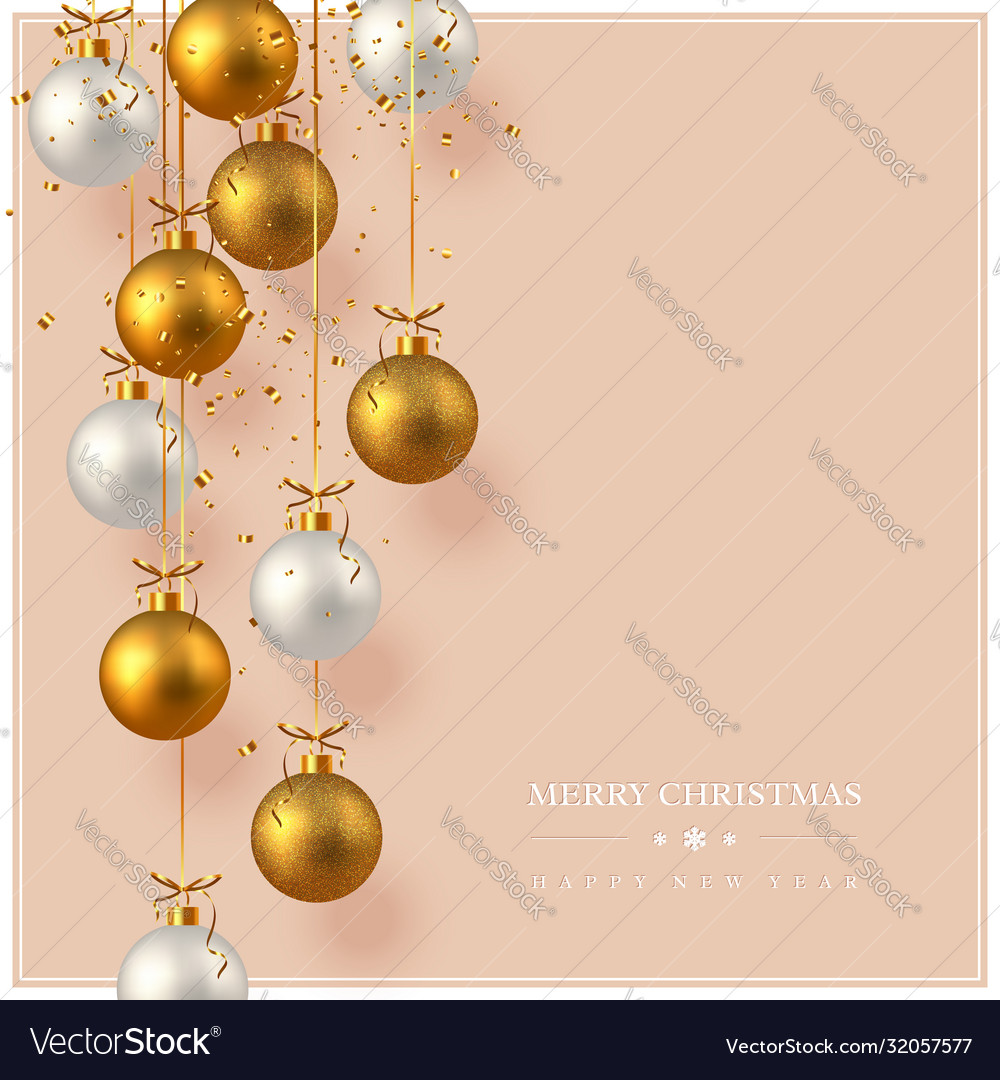 Merry christmas card with hanging baubles