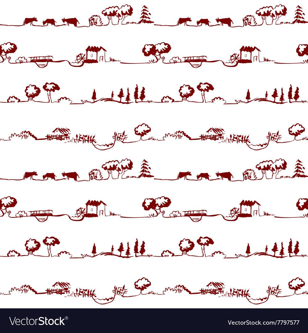 Pattern with rural line landscape