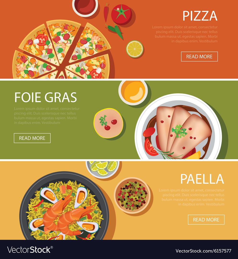 Popular food web banner flat design