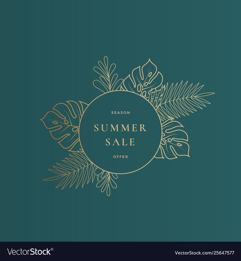 Round monstera tropical leaves summer sale card or