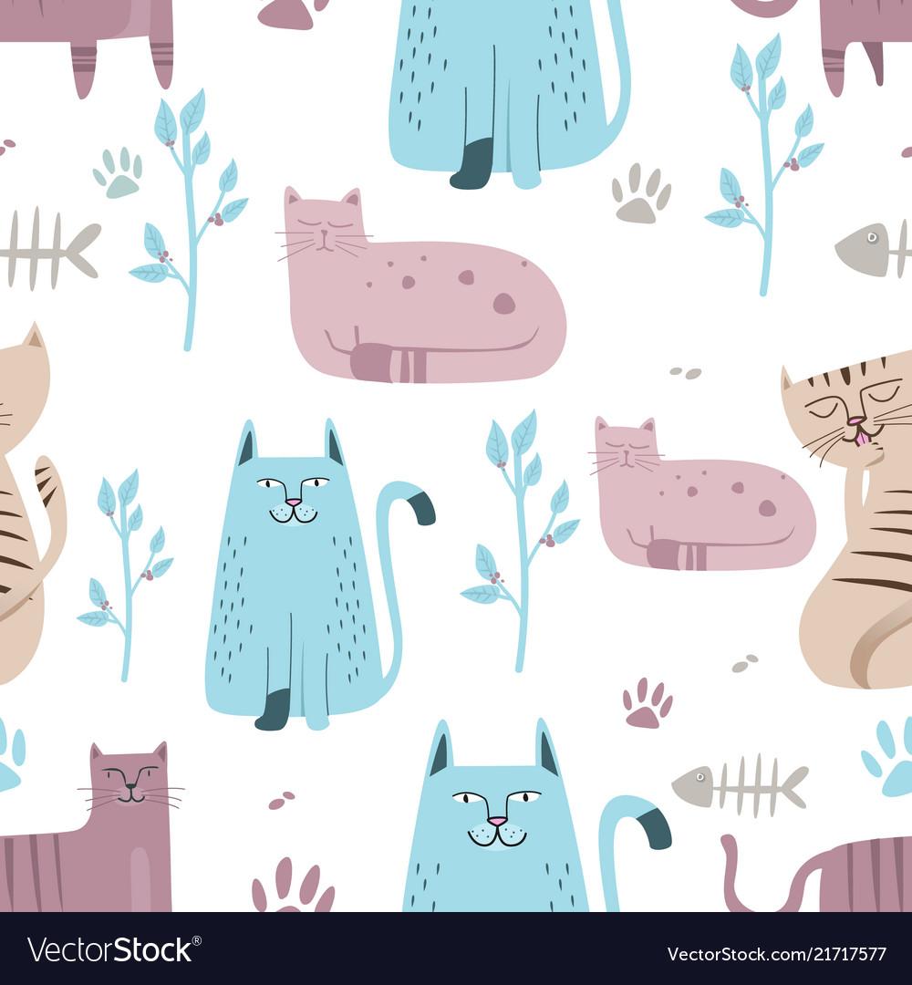 Seamless pattern cute cat with hand drawn cartoon