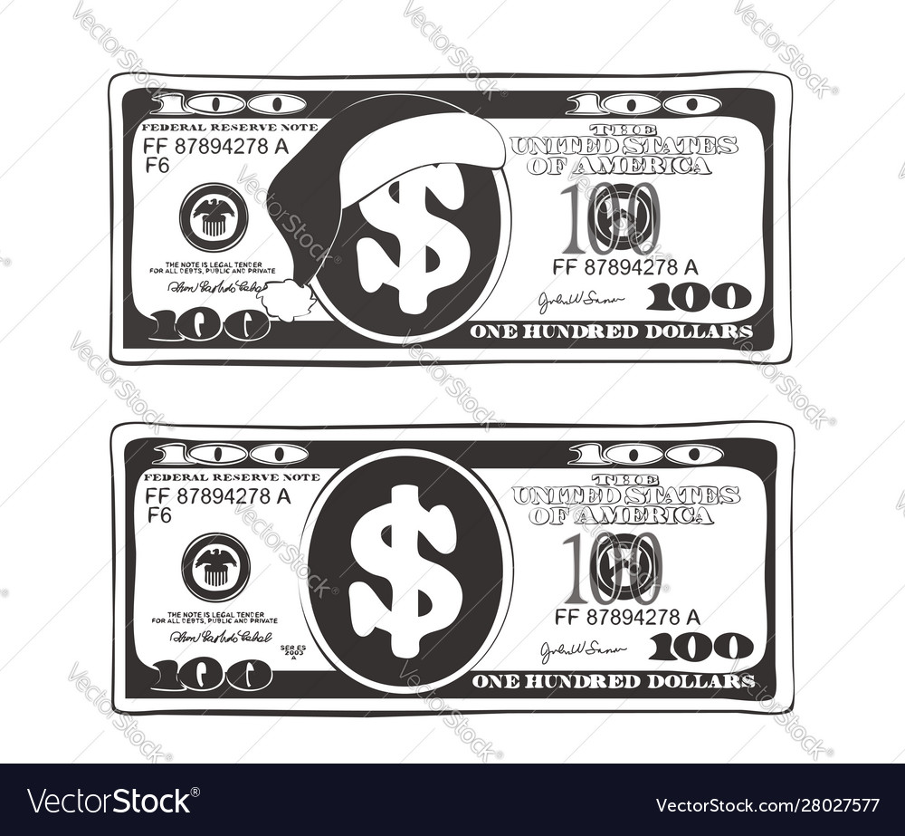 Set 100 Dollar In Black And White Colors Vector Image