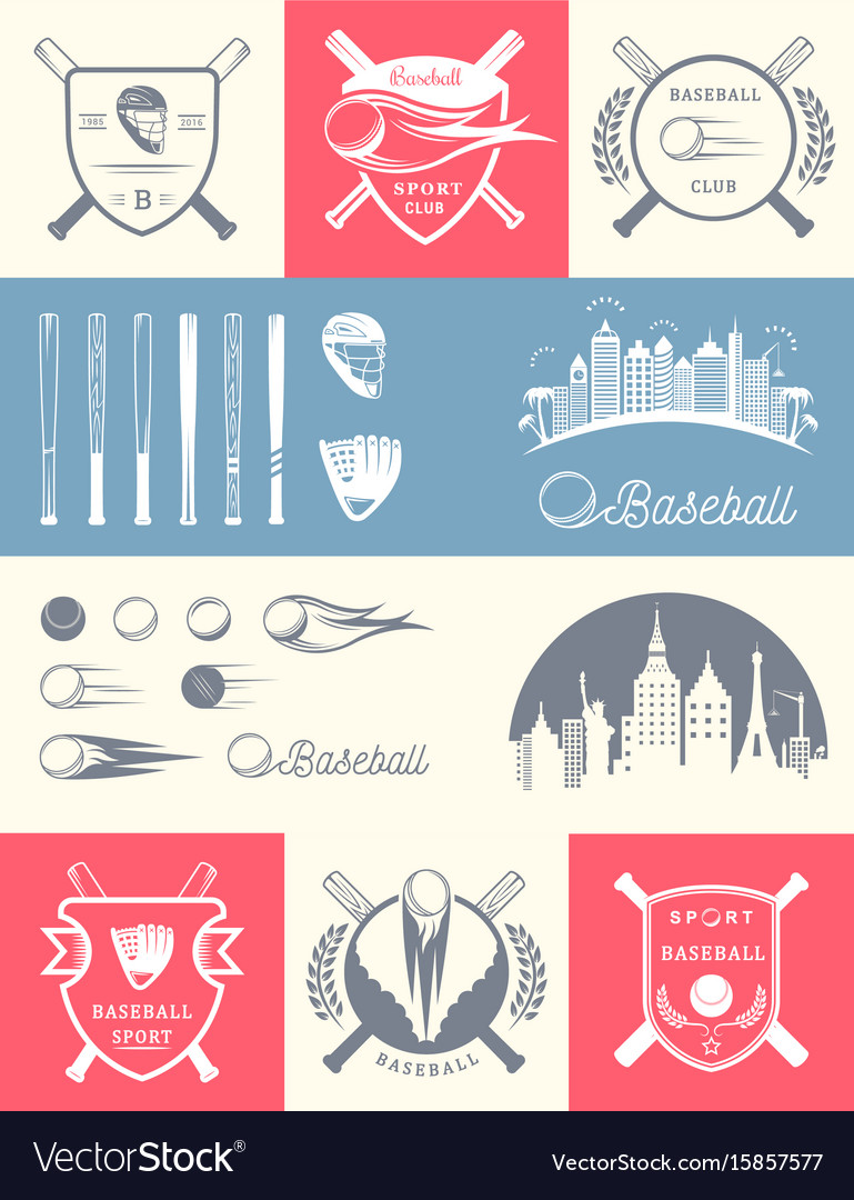 Set of vintage baseball logos and badges