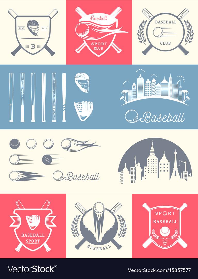 Set vintage baseball logos and badges