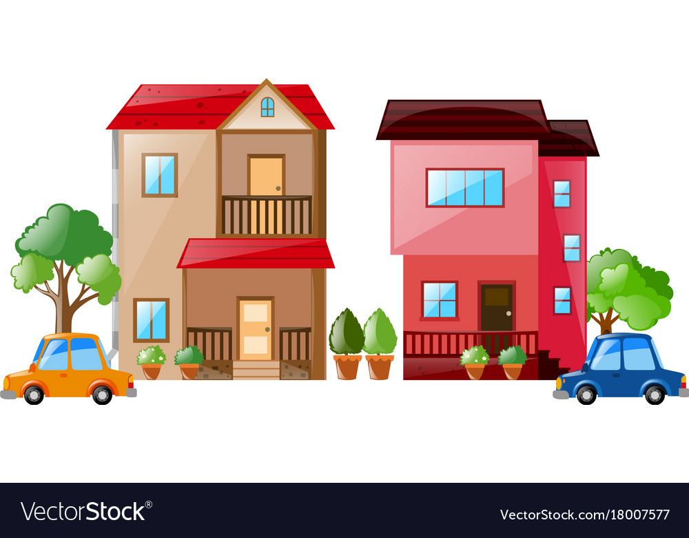 two houses and cars next to each other royalty free vector