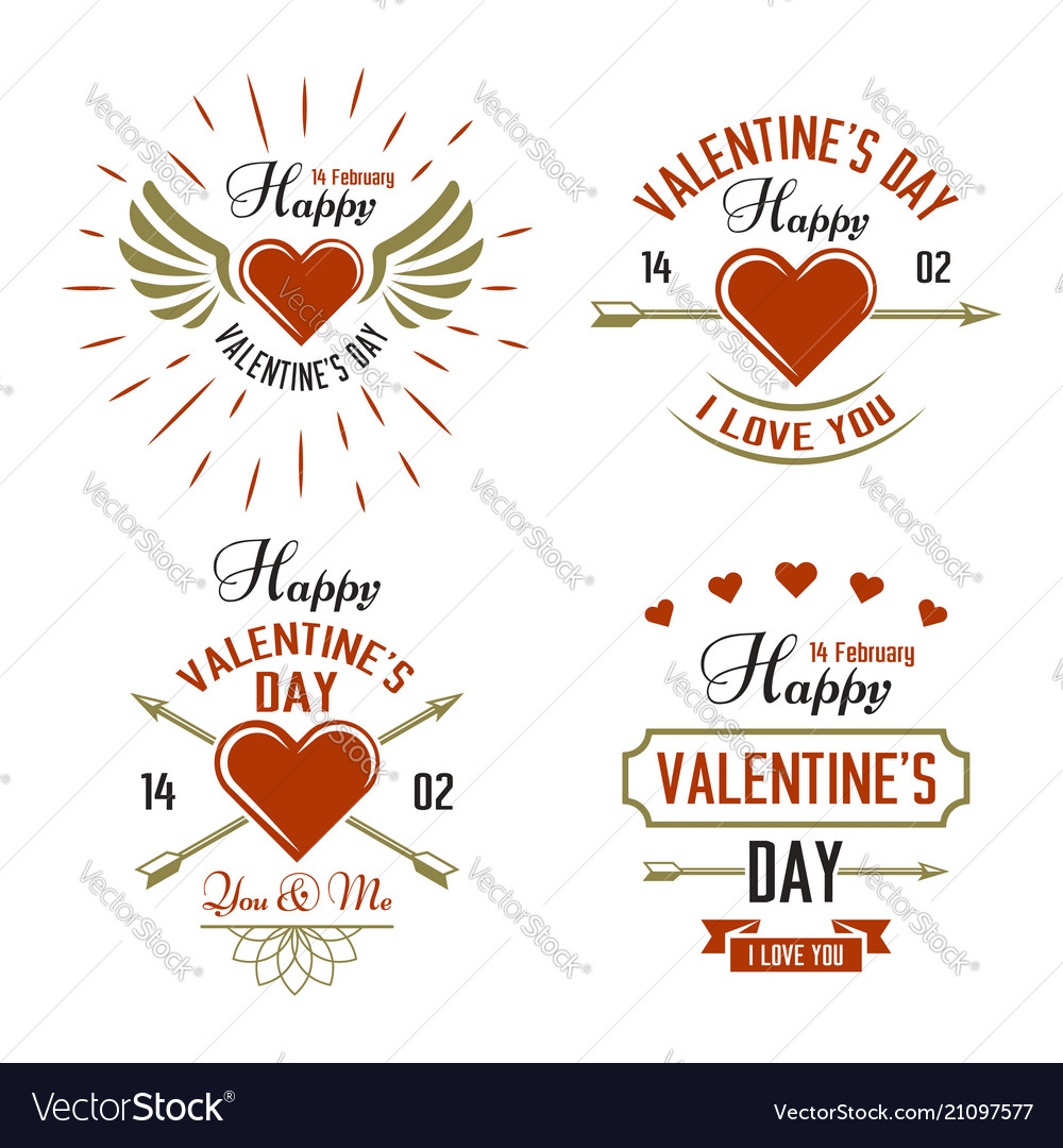 Valentines day four typographic labels