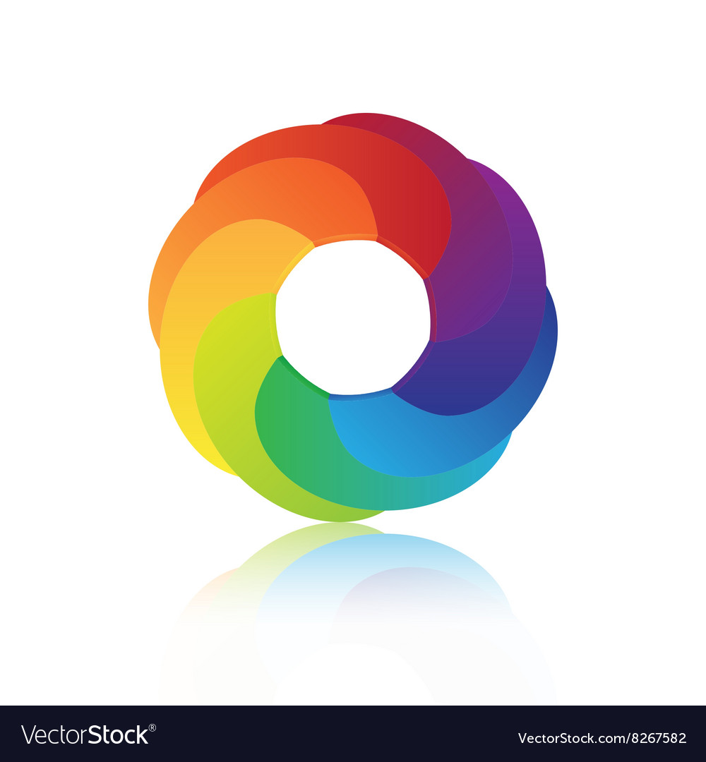 Abstract circle colorful 3d icon design