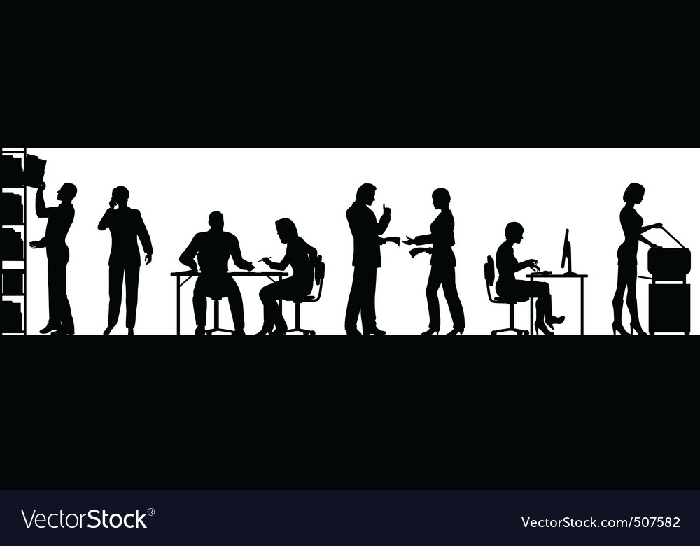 Busy office vector image