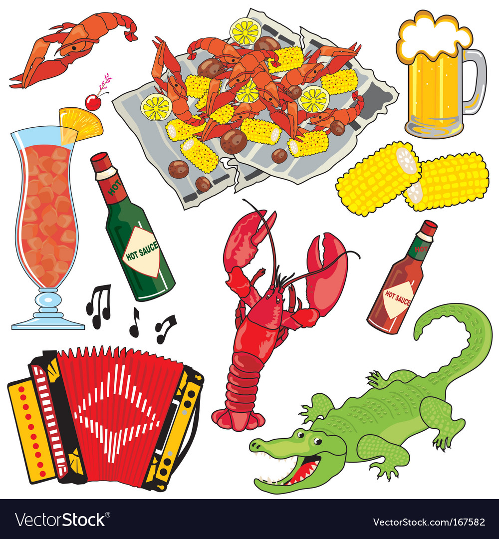 Cajun food and drinks vector image