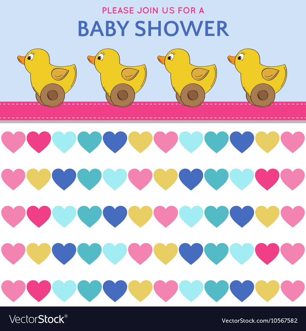 Delicate baby shower card with duck toys