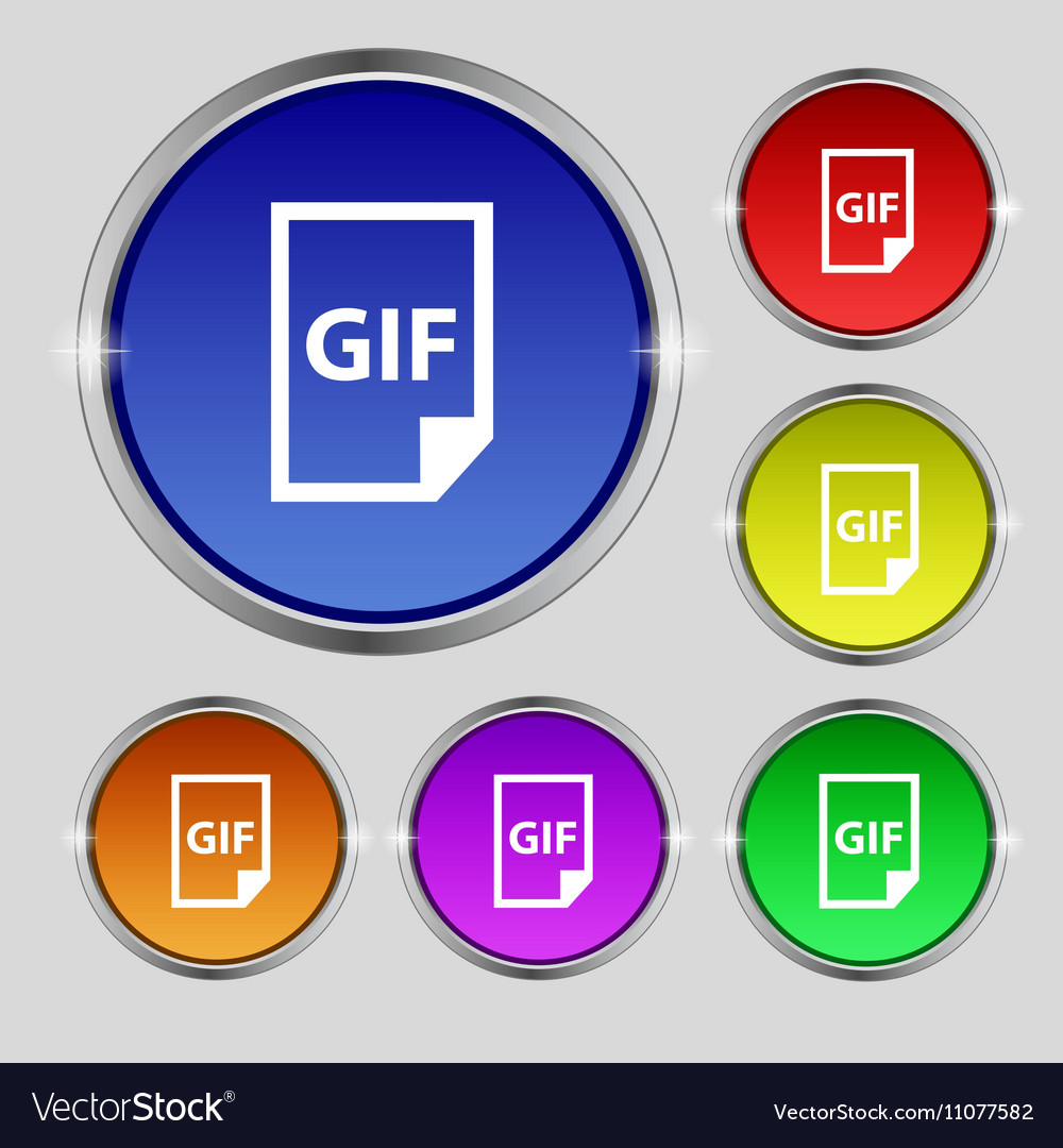 File GIF icon sign Round symbol on bright
