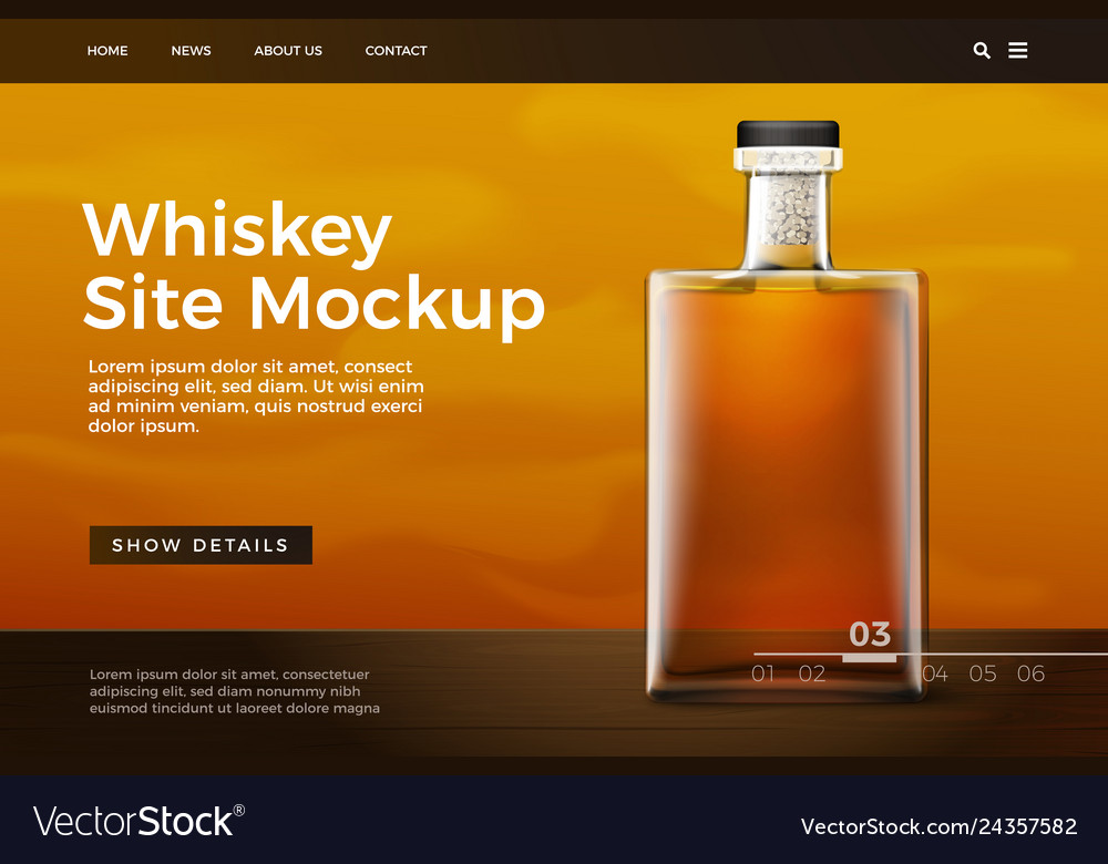 Glass whiskey bottle site template