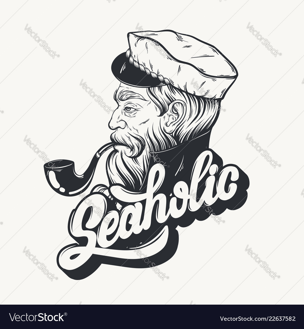 Hand drawn of captain with pipe tattoo artwork in