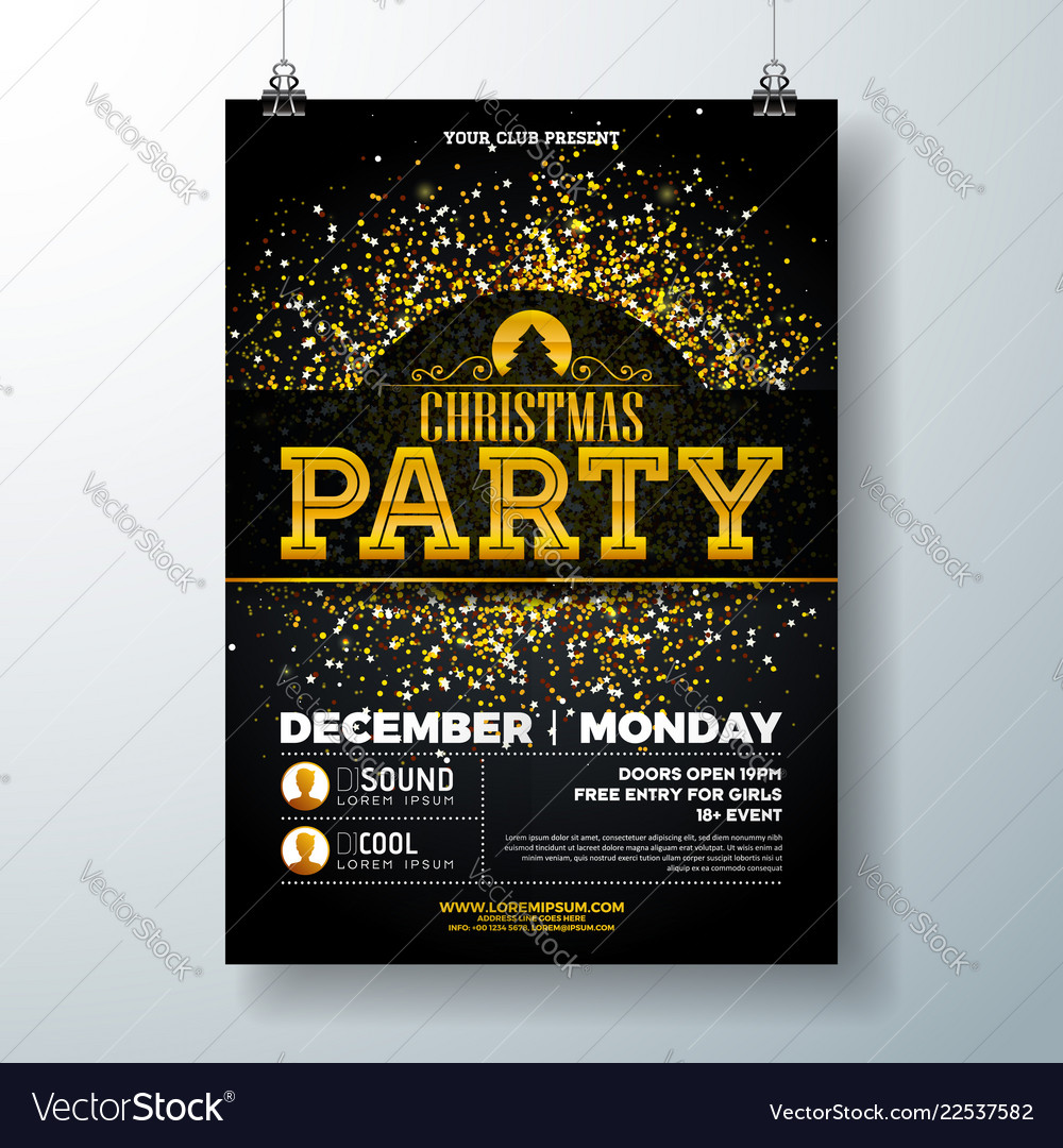 Merry christmas party poster design template with