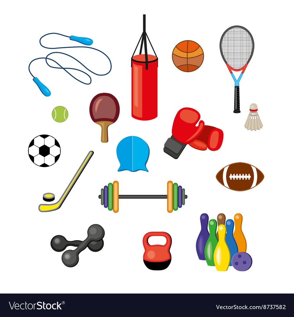 Set Of Flat Sports Equipment Icons For Gym