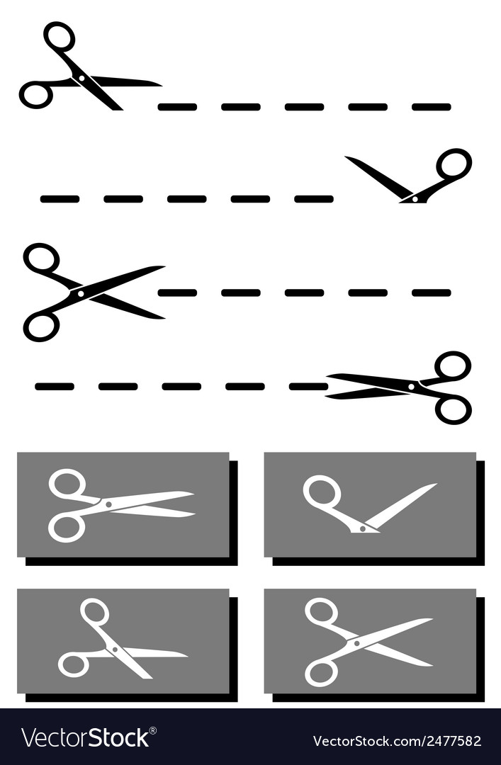 Set Scissors Coupon And Dotted Line Royalty Free Vector