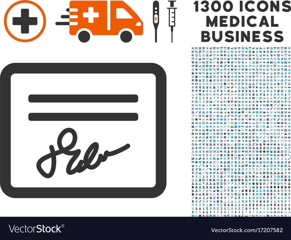Signed cheque icon with 1300 medical business vector image
