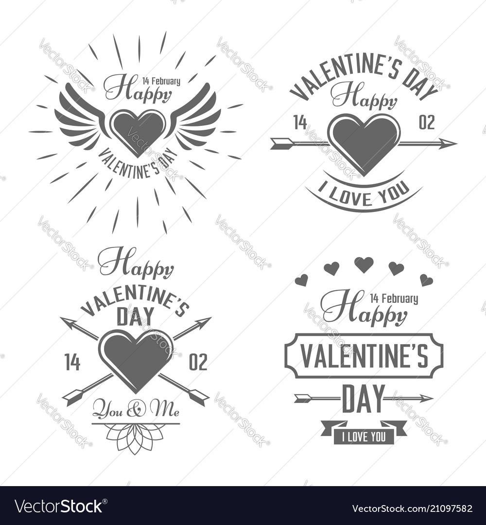 Valentines day black typographic labels
