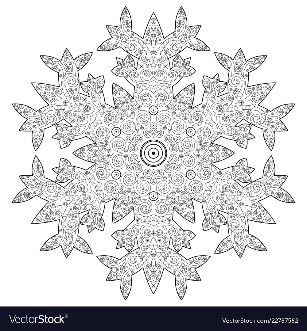 - Winter Coloring Page With Anti Stress Snowflake Vector Image