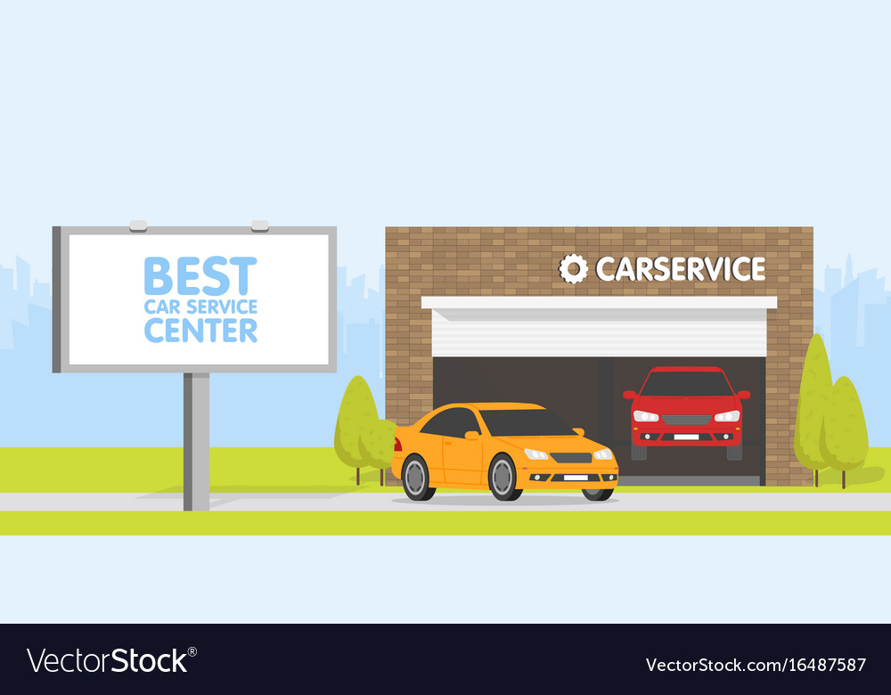 Automobile repair shop garage the car on