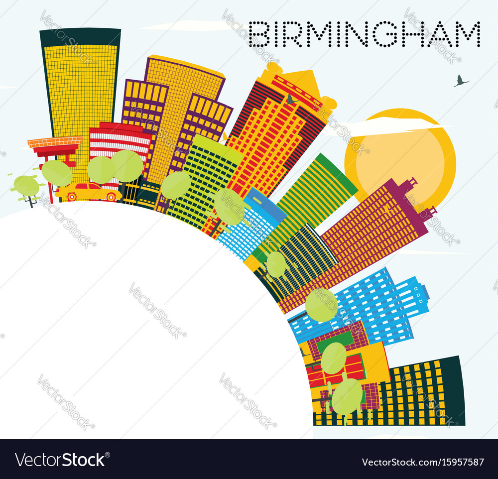 Birmingham skyline with color buildings blue sky