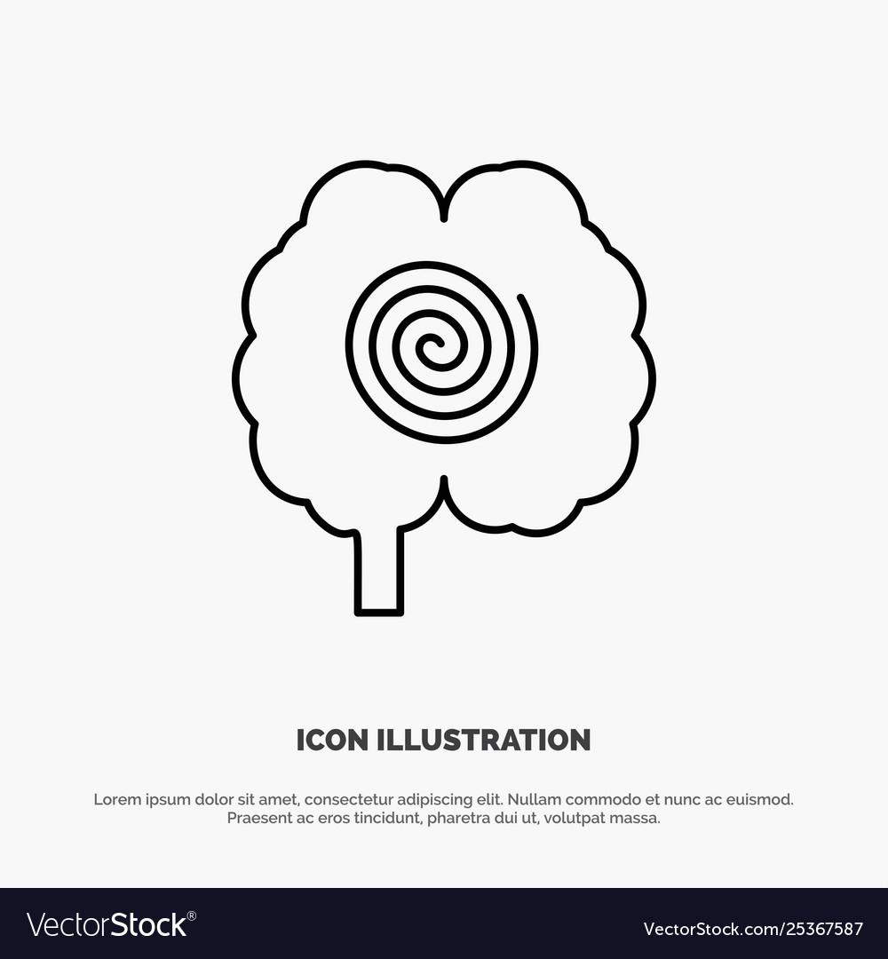 Brain head hypnosis psychology line icon