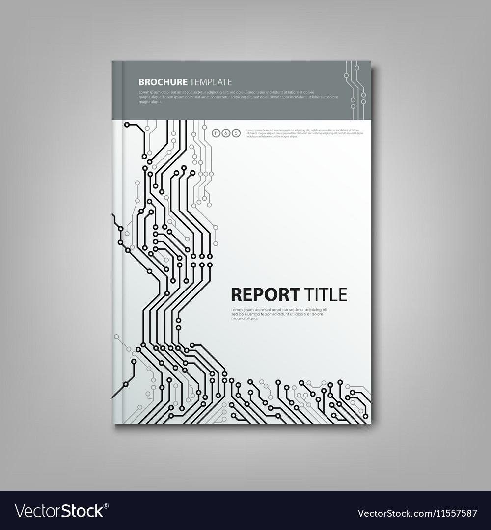 Brochure book with design printed circuit board Vector Image