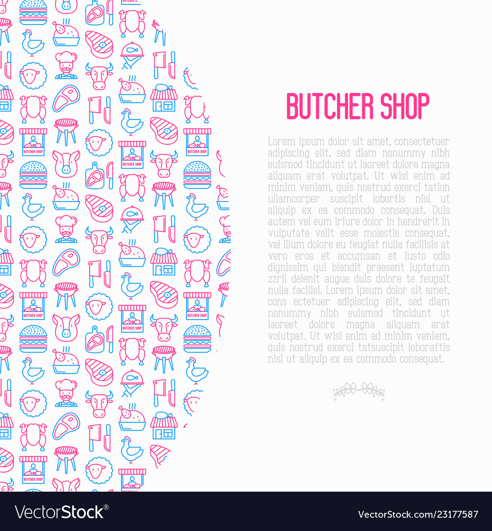 Butcher shop concept with thin line icons