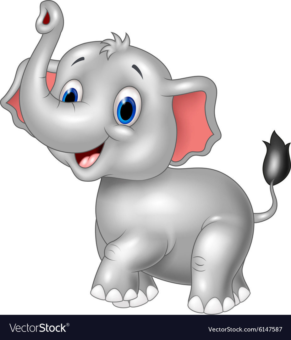 Cartoon baby elephant look to the side with trunk Vector Image