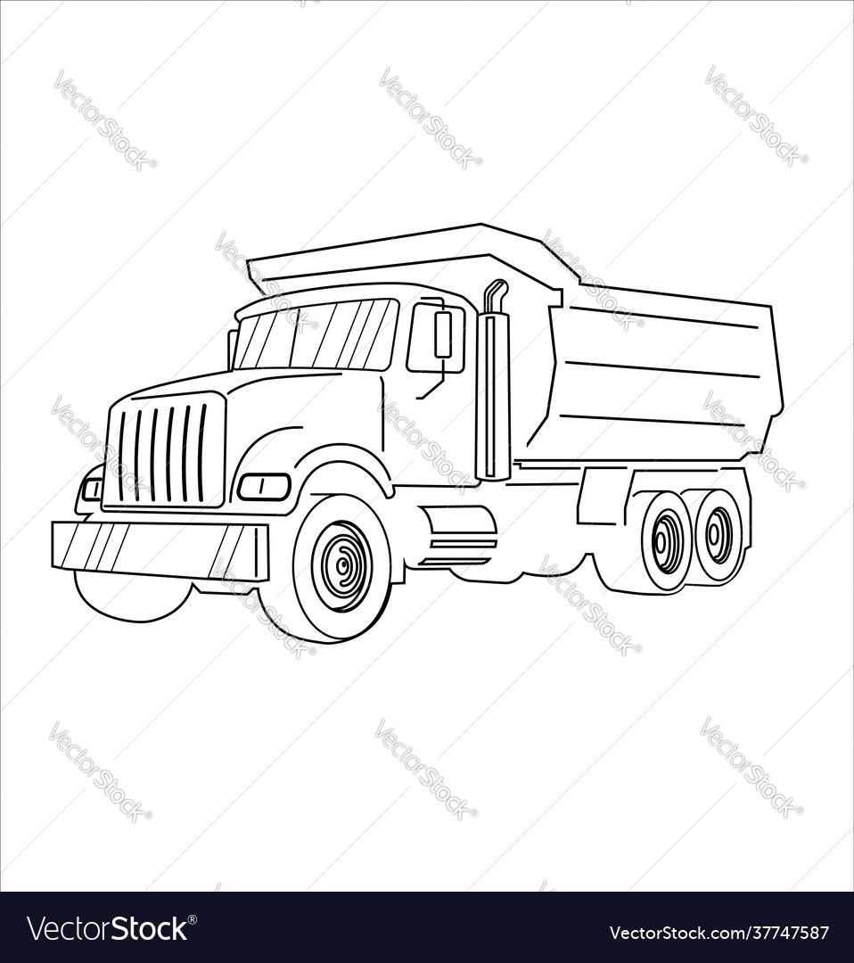 Cartoon dump truck outline tipper truck