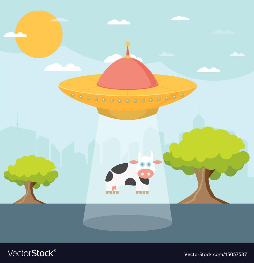 Cartoon ufo cow abduction vector image