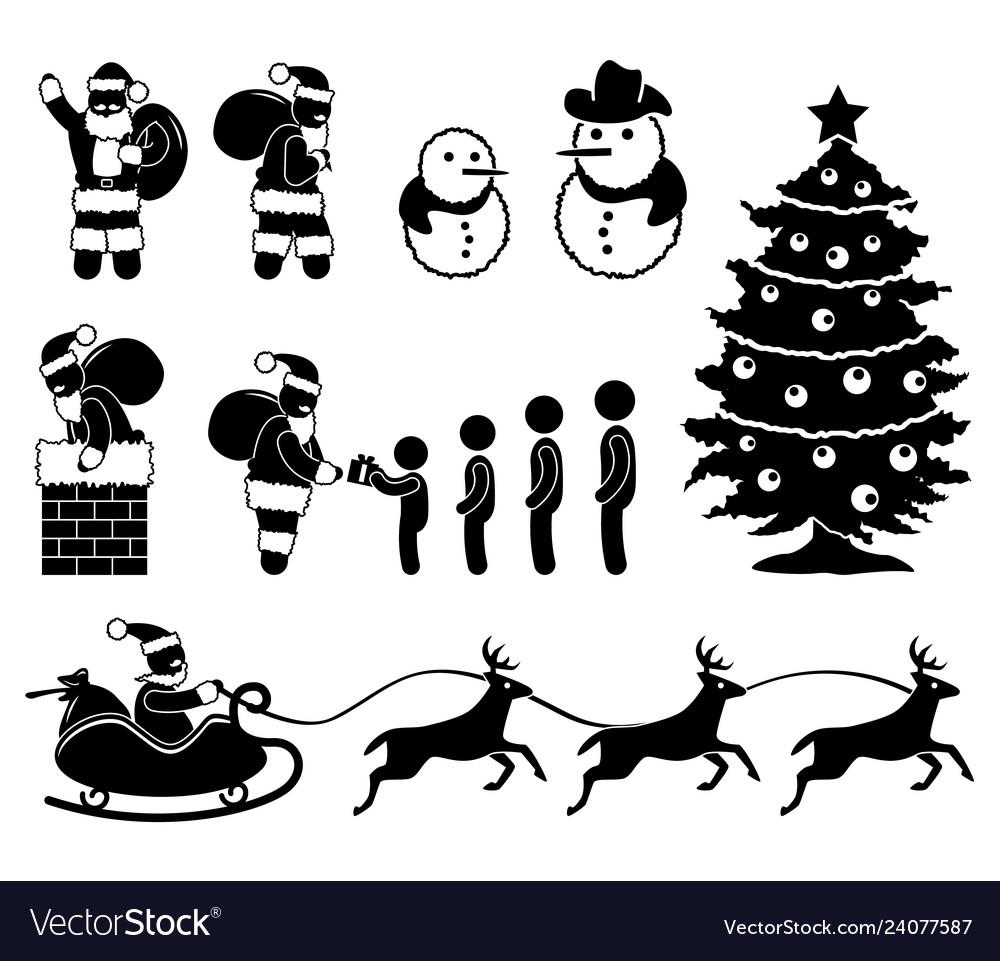 Christmas santa claus snowman winter chimney