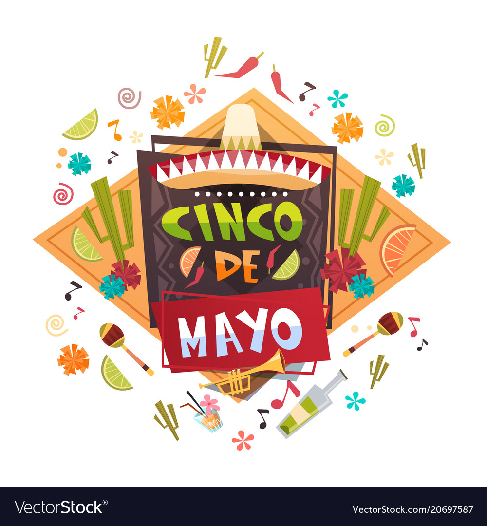 Cinco de mayo mexican holiday greeting card vector image m4hsunfo