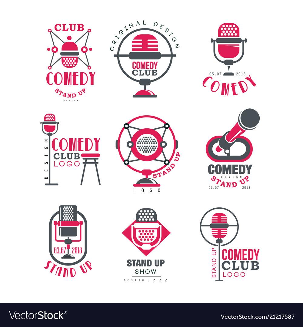 Comedy club logo design set stand up show signs