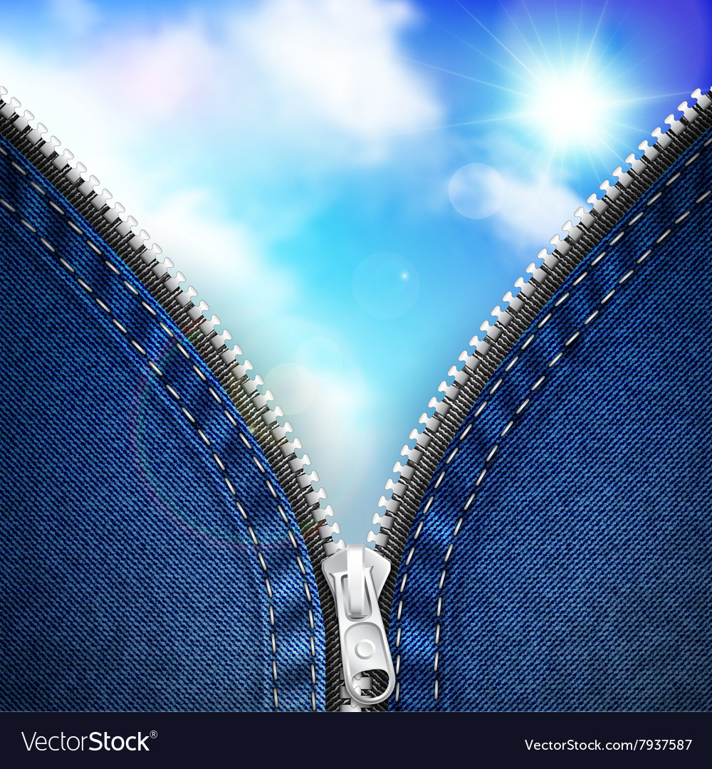 Denim background with open zipper