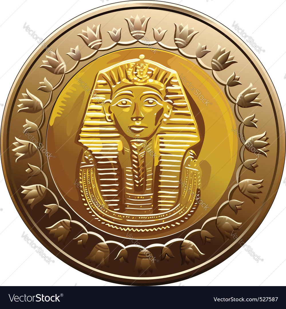 Egyptian coin featuring pharaoh vector image