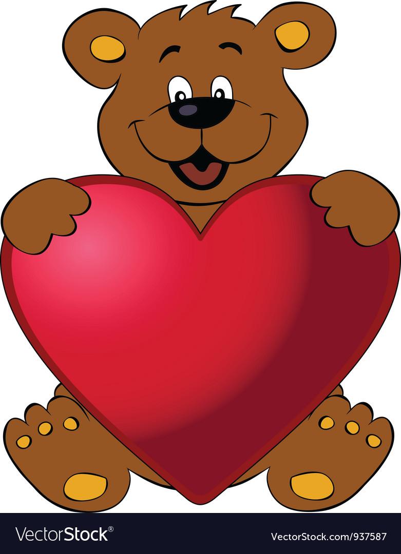 Happy bear with heart vector image