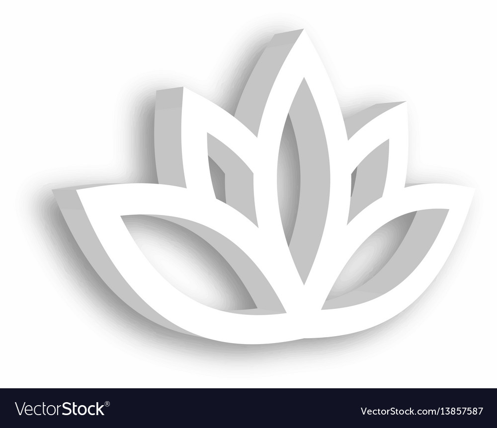 Lotus Flower 3d Icon On White Background Wellness Vector Image