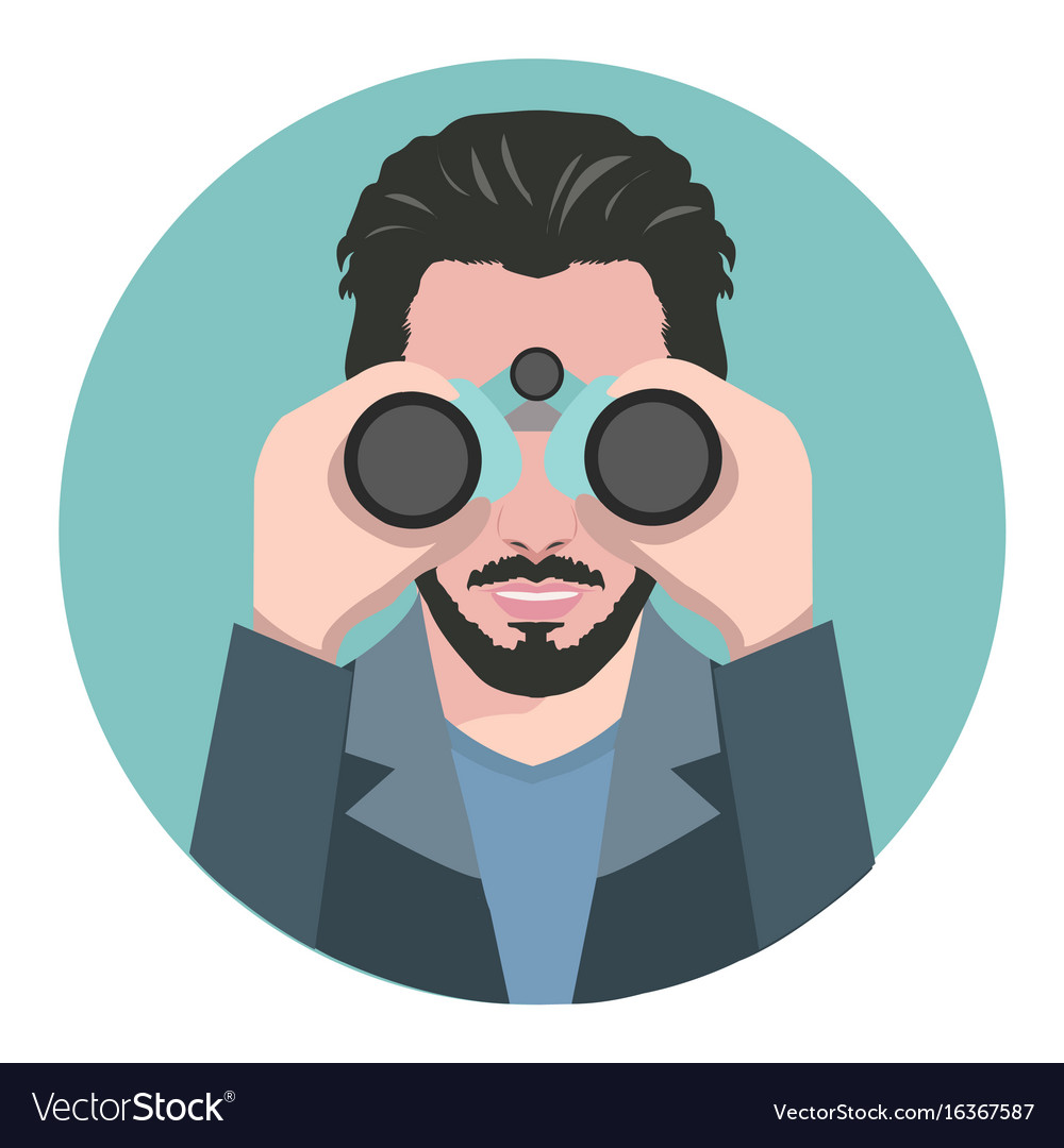 Man looking through binoculars vector image