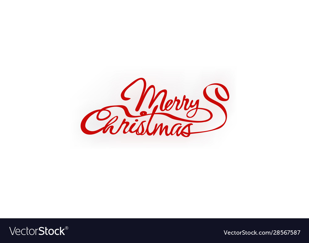 Merry christmas red hand letter inscription text