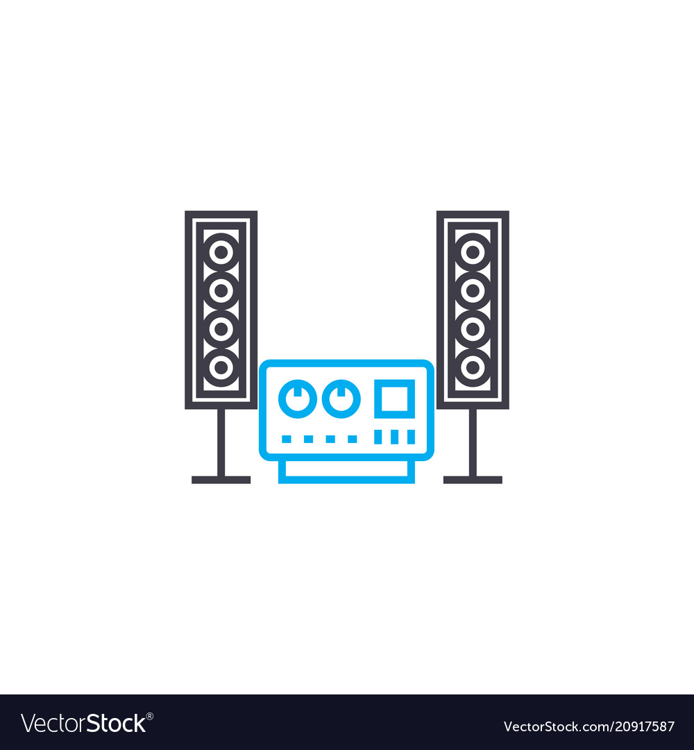 Music system linear icon concept music system