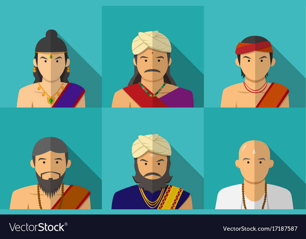 Portrait of indian people in traditional costume