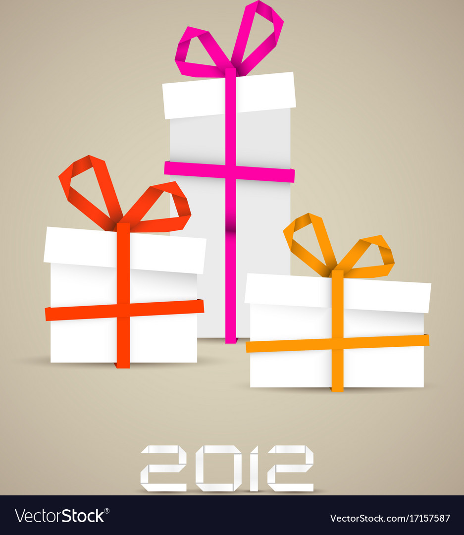 Simple christmas gifts made from paper stripes Vector Image