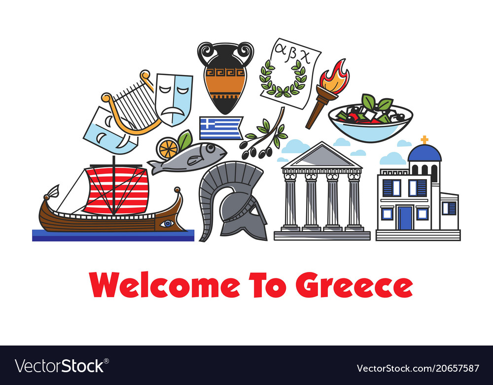 Welcome to greece promo banner with historic